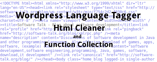 wordpress plugin language tagger, html cleaner and function collection